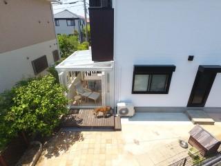 愛犬と触れ合う庭