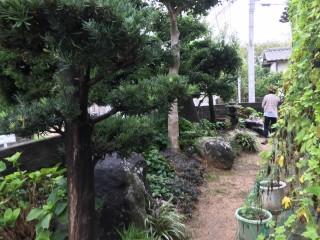 大きな石が入った和風庭園